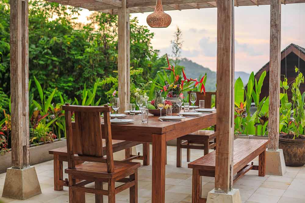 dining table sun house accommodation bali